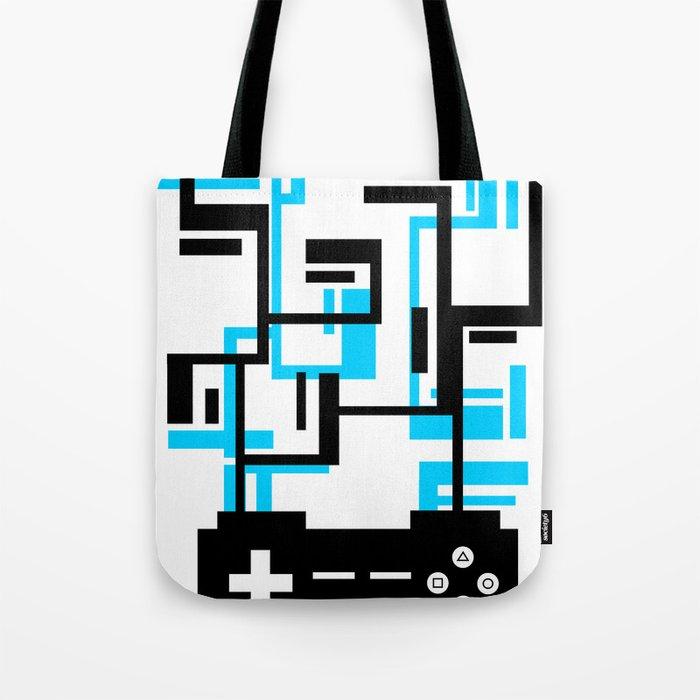 8-BIT JOYSTICK (BLUE AND BLACK) Tote Bag
