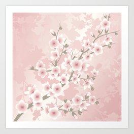 Vintage Floral Cherry Blossom Art Print