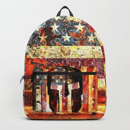 American Flag And Spartan Helmet On Rusted Metal Door - Molon Labe Backpack