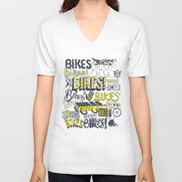 bikes V-neck T-shirts featuring Bikes! by Matthew Fleming