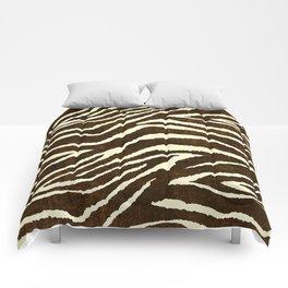 ZEBRA IN WINTER BROWN AND WHITE Comforters