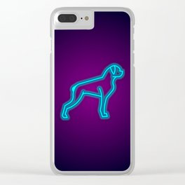 NEON BOXER DOG Clear iPhone Case