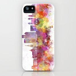 Medellin skyline in watercolor background iPhone Case