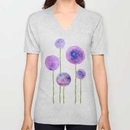 abstract purple onion flowers Unisex V-Neck