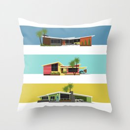 Mid Century Modern Houses 2 Throw Pillow