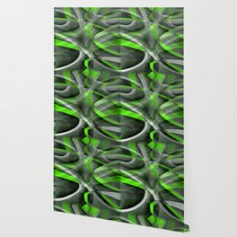 Eighties Vibes Lime and Grey Layered Curve Pattern Wallpaper