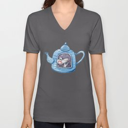 Cute mouse in her teapot house lovely drawing kids Unisex V-Neck