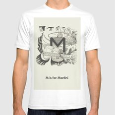 M is for Martini White Mens Fitted Tee MEDIUM