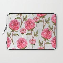 Pink Peonies On White Chalkboard Laptop Sleeve