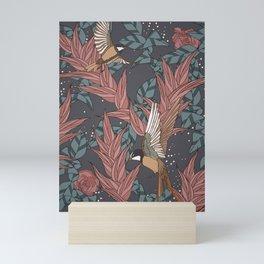 Floral songbirds Mini Art Print