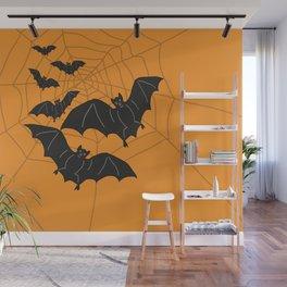 Flying Bats orange Wall Mural