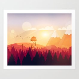 Vector Art Landscape with Fire Lookout Tower Art Print