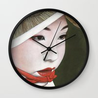 geisha Wall Clocks featuring Geisha by Andrea Maiorana