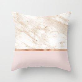 Caramel marble on rose gold blush Throw Pillow