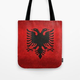 Albanian Flag with Grungy Texture Tote Bag