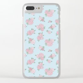 La Vie en Rose - Pink Blue Roses Pattern Clear iPhone Case