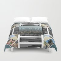 los angeles Duvet Covers featuring Los Angeles by Jessica Cherinka