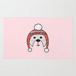 Christmas cute bear in pink Rug