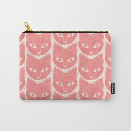 Cat Face Pattern in Peach Pink Carry-All Pouch