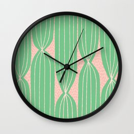 Cactus Stripe pattern in green and pink Wall Clock