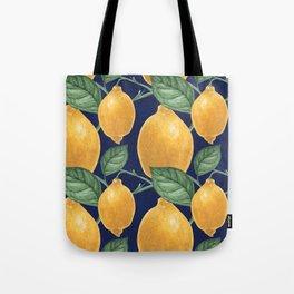 Lemon branch. Oldschool Botanical Watercolor Tote Bag