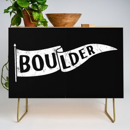 Boulder Colorado Pennant Flag B&W // University College Dorm Room Graphic Design Decor Black & White Credenza
