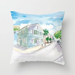 Mile 0 Marker Key West - Sunny Whitehead Street Throw Pillow