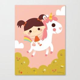 Riding a white unicorn Canvas Print