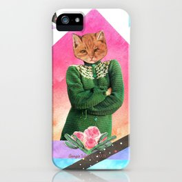 Roses are pink handcut collage iPhone Case