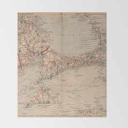 Vintage Map of Cape Cod MA (1905) Throw Blanket