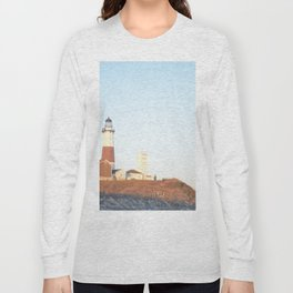 Sunset at Lighthouse in East Hampton Long Sleeve T-shirt