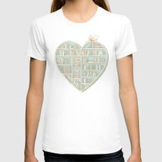 I Heart Books X-LARGE White Womens Fitted Tee