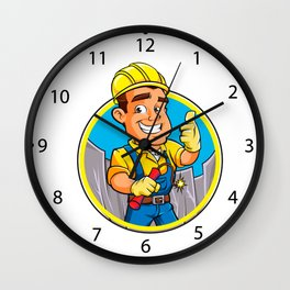 Cartoon man  with dynamite stick. Wall Clock