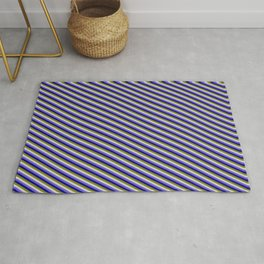 Slate Blue, Dark Blue, Green, and Light Grey Colored Stripes/Lines Pattern Rug