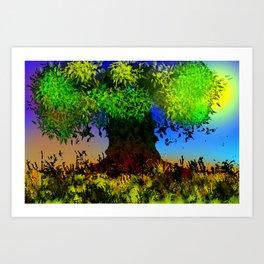 Tree and Leaves Art Print