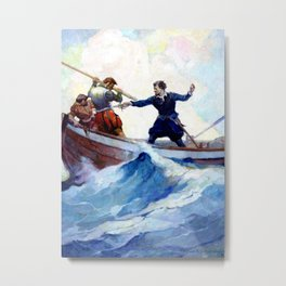 """A Pretty Fight"" Pirate Art by Frank Schoonover Metal Print"