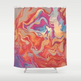 DRAMAQUEEN GOLD FIRE by Monika Strigel Shower Curtain