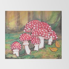 Mushrooms in the Woods Throw Blanket