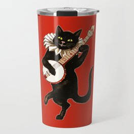 Black Cat for Halloween with Red Travel Mug