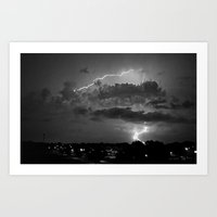 Electric Pretzel - Black & White Art Print