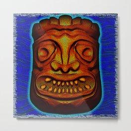 Tiki Tile Red Brown Metal Print