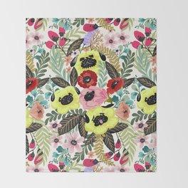 Flower Pugs Throw Blanket