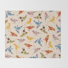 Vintage Wallpaper Birds Throw Blanket