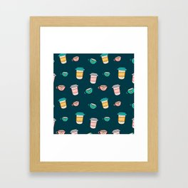 Happy coffee cups and mugs in dark-blue background Framed Art Print