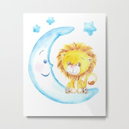 baby lion, blue moon with stars, baby boy room, baby shower gift, watercolor painting Metal Print