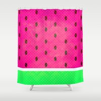 watermelon Shower Curtains featuring Watermelon by M Studio