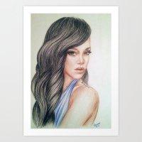 rihanna Art Prints featuring RIHANNA by Hileeery