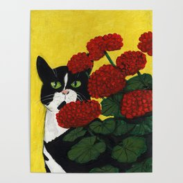 Cat Amongst The Geraniums 3 Poster