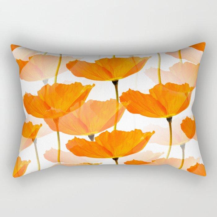 Orange Poppies On A White Background #decor #society6 #buyart Rectangular Pillow