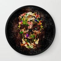 animal skull Wall Clocks featuring Floral Flower animal skull kingdom by KomarWork